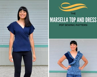 Marsella Faux Wrap top and dress PDF printable sewing pattern and step by step tutorial with sizes 4 to 22 included