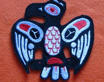 Native American Creation Raven Embroidered Iron On Patch, Raven, Trickster, Transformer,  Embroidered Patch, Biker, Motorcycle