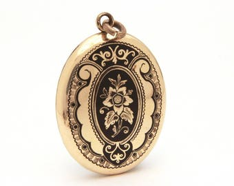 Antique Mourning Locket Victorian Black Enamel Photo Locket Pendant, Gold Filled Antique Locket Taille d'Epergne, Victorian Mourning Jewelry