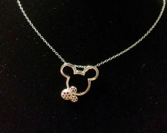 Red Rhinestone Minnie Mouse Necklace