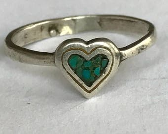 ON SALE Navajo Turquoise Sterling Heart Ring Sz 4 Crushed 925 Silver Vintage Jewelry Pinky Native Southwestern Birthday Mother's Anniversary
