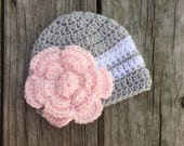Girls Newborn Baby Beanie Ready To Ship Girls Hat Silver White and Pink Crochet Baby Beanie Baby Shower Gift Baby