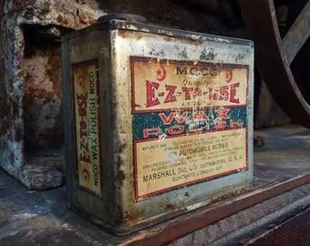 Vintage MOCO Automotive Wax Polish Tin Can - Marshall Oil Company