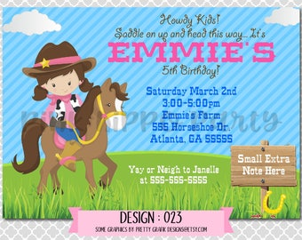Cowgirl Horseback Riding Girl:Design #027-Children's Birthday Party Digital Invitation File 4x6 or 5x7 Free Thank You Card with Purchase