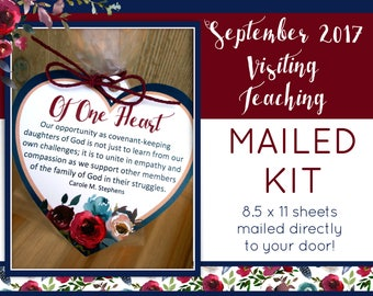 MAILED KIT - September 2017 Visiting Teaching, MAILED 8.5 x 11 sheets, Lds Relief Society