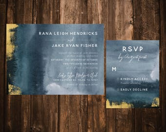 Dusty Blue Watercolor & Gold Wedding Invitations; Printable OR set of 25
