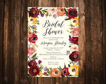 Fall Marsala Wildflower Bridal Shower Invitation; Watercolor; Marsala, Red, Burgundy; Printable or set of 10