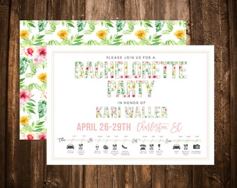 Bachelorette Weekend Invitation; Itinerary; Icons; Pink; Tropical; Beach; Printable or set of 10