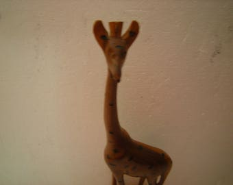 vtge giraffe-wood giraffe-handcrafted in kenya-giraffe statuette-shelf decor-safari souvenir-display-child room-