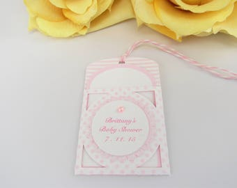 10 Baby Tags... Gift Tags/ Baby Shower Favor Tags/ Thank You Tags/Gift Tags/Pink/Baby Girl/It's a Girl Baby Tags/Girl Baby Tags