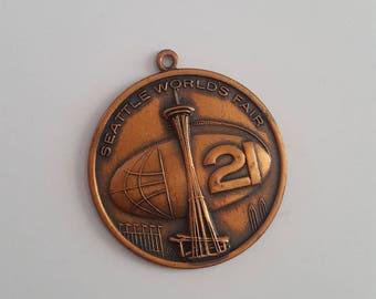 Vintage 1962 Seattle World's Exposition Century 21 solid copper souvenir medallion,  Space Needle