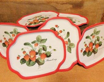 Vintage strawberry enamelware trays- set of 6