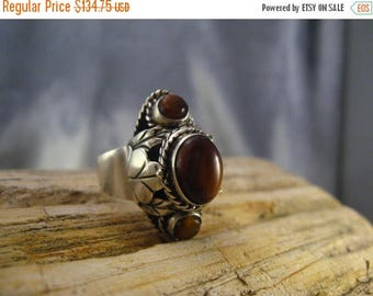 ON SALE Poison Ring Vtg Sterling Silver Mexican Tiger Eye Three Cabs 1950s Size 7 to 9 Adjustable Rare Unisex #717