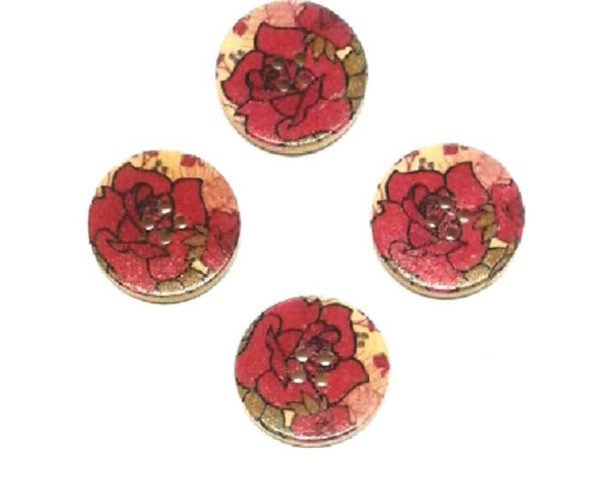 4 pack of 30mm Red Rose wooden buttons