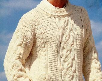 Men's Crochet Fisherman Sweater Vintage Crochet Pattern Download