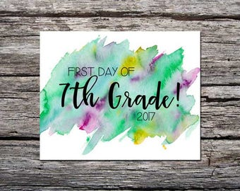 First Day of School Sign / 7th Grade / Watercolor / Green Purple / First Day / Back to School Sign / 8x10 DIGITAL Printable JPEG Girl