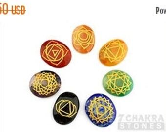 ON SALE Engraved Chakra Oval Set