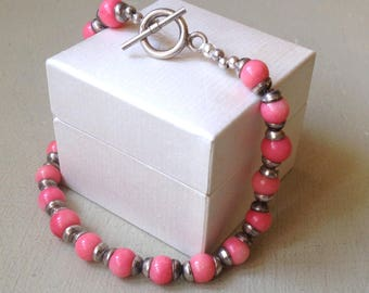 """Sterling Silver Spacer Cap Beads 18.2g & Round Pink Coral 8mm Beaded Toggle Bracelet 9"""" Inches"""