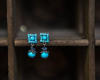 Vintage Turquoise bead dangle earrings