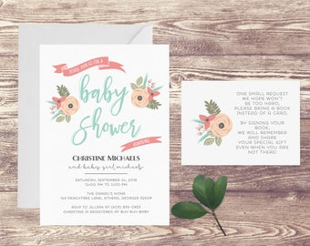Printed Baby Shower Invitation with Book Insert Card, Invitation for Baby Shower, Baby Girl Shower Invite, Baby Sprinkle Invitation