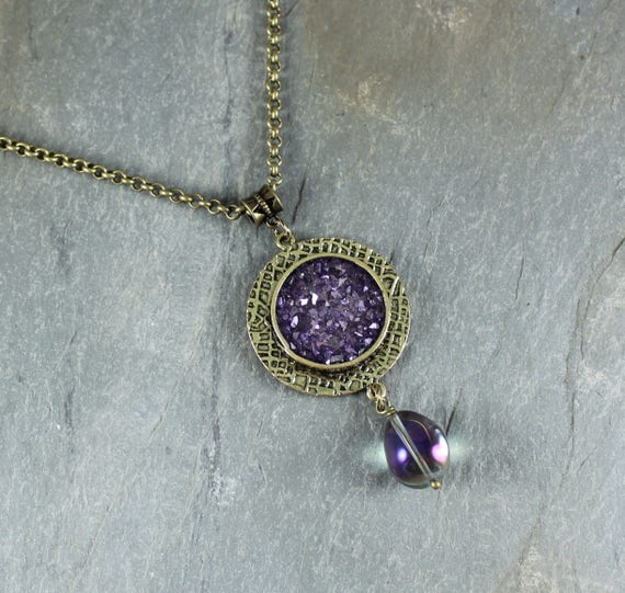 Bohemian Chic ~ Purple Sparkle pendant necklace