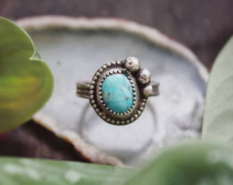 Sterling Silver Turquoise Ring with Fancy Border, Light Teal Gemstone Ring, Handmade Sterling Silver Turquoise Ring, Teal Silver Ring Size 6