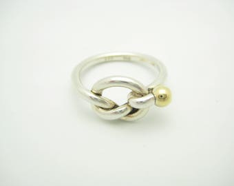 Tiffany & Co. 18K Yellow Gold and Sterling Silver Love Knot Ring Size 6