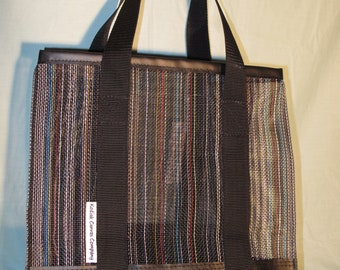 Multicolored Mesh Shopper Tote with Industrial Black Vinyl Bottom and Infinity Loop Handles