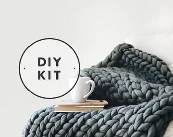 DIY KIT ⨯ Extreme Mega Knit Blanket, Afghan, Throw ⨯ The Chamberlain