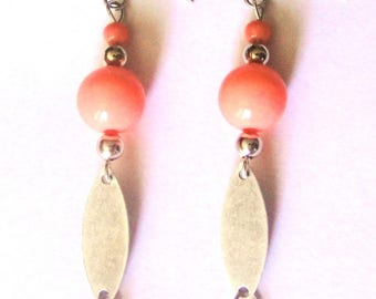 Coral earrings Orange and silver antique