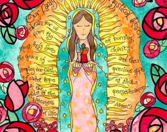 Our Lady of Guadalupe, Mystical Rose, Catholic Prayer Art, First Communion, Confirmation, Wedding, Personalized gift, contemporary