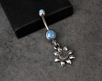Flower Belly Ring - Blue Opal Belly Button Ring - 14g - Surgical Steel - Dangle Belly Ring - Navel Ring - Belly Jewelry - Belly Piercing