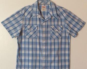 Levi's Modern Vintage Blue Plaid Pearl Snap Rockabilly Western Shirt Mens XL