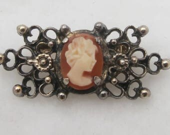 Vintage miniature filigree Wells silver sterling cameo brooch pin