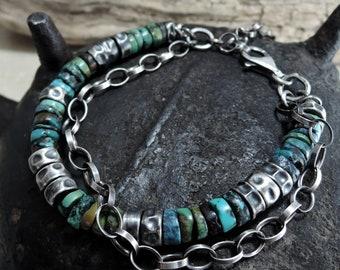man turquoise bracelet, raw turquoise, boho bracelet, turquoise bracelet, bohemian