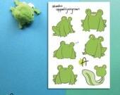 """Floris the Frog   Sticker sheet  A6 (4x6"""") / A7 (3x4"""")"""