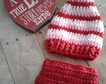Crochet valentine stocking hat and diaper cover and photography set