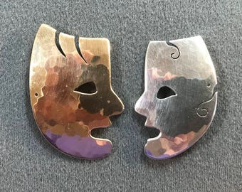 Signed Athalie Sterling Silver and Bronze Brooches. Made in USA. Free shipping.
