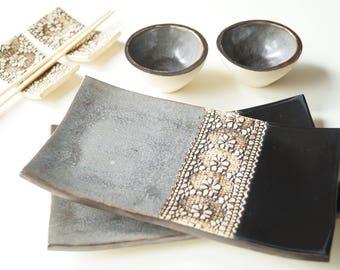 Rustic Sushi Serving Set, Black Gray Sushi Set, Ceramic Sushi Dishes, Serving Sushi, Sushi Plate, Ceramics and Pottery, Sushi Tray