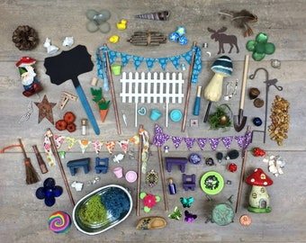 DIY Fairy Garden Accessories Grab Bag, Kids craft, Fairy Garden Kit, Fairy Garden Party Gift, Garden Party Favor.