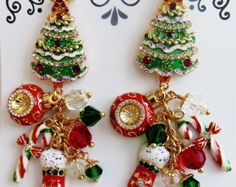 Lunch At The Ritz Fabulous Christmas Chandelier Post Earrings/ Never Worn