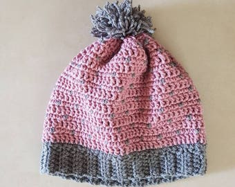 Crochet slouchy hat with a matching pom pom