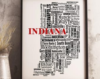 Indiana Map Art, Indiana Art Print, Indiana City Map, Indiana Typography Art, Indiana Wall Decor, Indiana Moving Gift