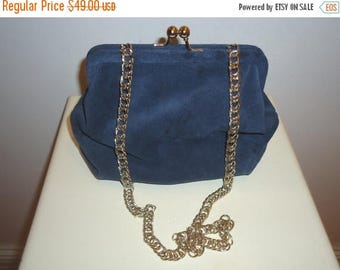 50% OFF Beautiful Small Navy Blue Suede Handbag/Clutch