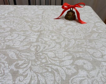 Natural Linen Tablecloth. Modern Tablecloth 56 Х 98. White Damask Table Сloth. Scandinavian Fabric. Wedding Gift