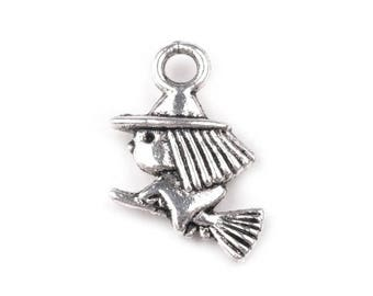4 Charm fairy witch on broomstick silver charm