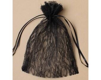 3 bags pouches 22 cm Black Lace