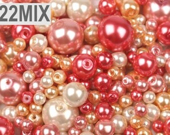 MIX 22 - 4-12 mm glass pink ivory pearls