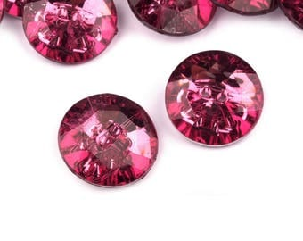 5 buttons 25 mm Fuchsia Crystal