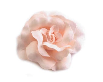 Salmon pink flower brooch or hair